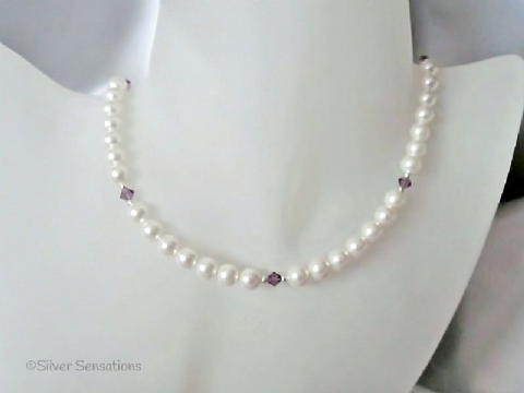 White Swarovski Pearls,Purple Crystals & Sterling Silver Handmade Wedding Necklace